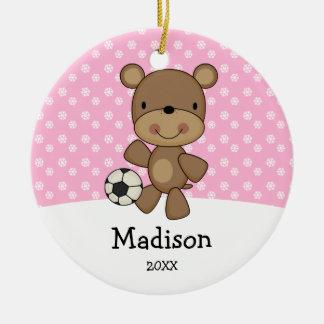 De Bal van het voetbal draagt Roze Rond Keramisch Ornament