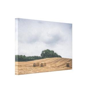 De balen van het stro op een landelijk gebied in canvas afdruk
