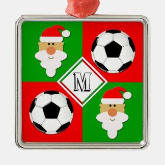 De Ballen van het voetbal & Aanvankelijke de Zilverkleurig Vierkant Ornament