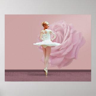 De ballerina in Wit met Roze nam toe Poster