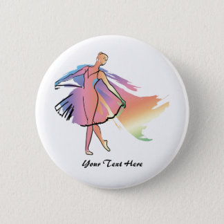 De Ballerina van de pastelkleur (Personalized_ Ronde Button 5,7 Cm