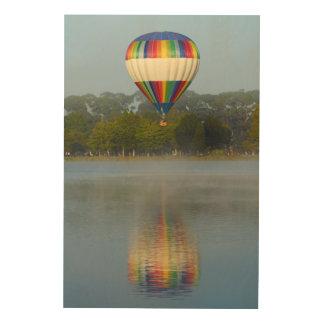 De Ballon van de hete Lucht over Rivier Hout Afdruk