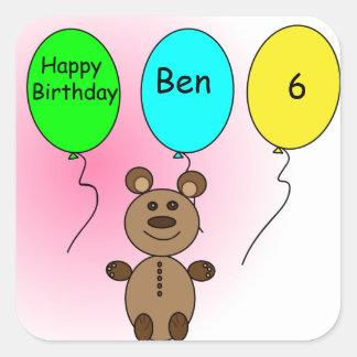 De Ballon van de verjaardag draagt Vierkante Sticker