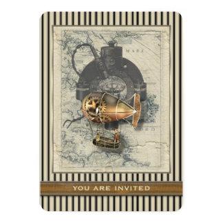 De Ballon van Dirigible van Steampunk berijdt Om 12,7x17,8 Uitnodiging Kaart