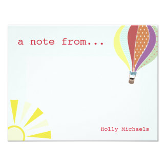 De Ballon & Zon Vlakke Notecard van de hete Lucht 10,8x13,9 Uitnodiging Kaart
