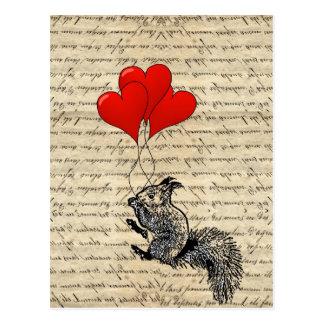 De ballons van de eekhoorn en van het hart briefkaart