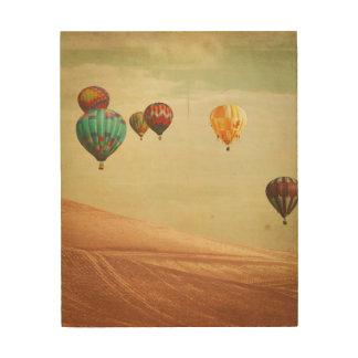 De Ballons van de hete Lucht in de Hemel Hout Afdruk