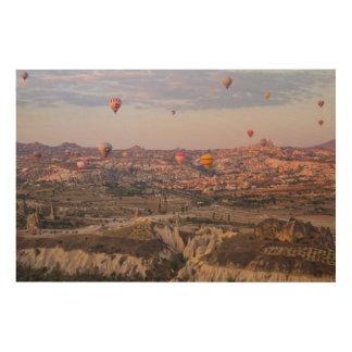 De Ballons van de hete Lucht over Cappadocia Hout Afdruk