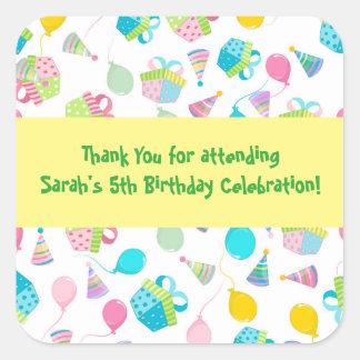 De Ballons van de verjaardag danken u Vierkant Stickers