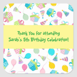 De Ballons van de verjaardag danken u Vierkante Sticker
