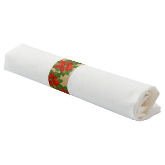 De band-Poinsettia van het Servet van Kerstmis Servetwikkel
