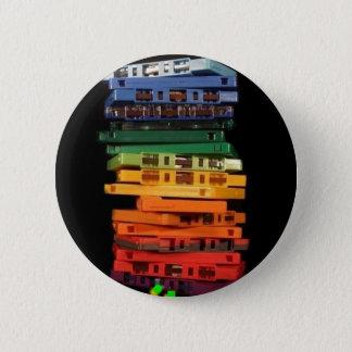 De banden van de de jaren '80regenboog gekleurde ronde button 5,7 cm