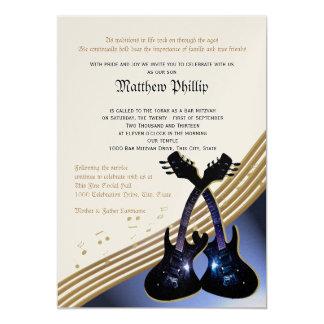 De Bar mitswa van de Muziek van de gitaar 12,7x17,8 Uitnodiging Kaart