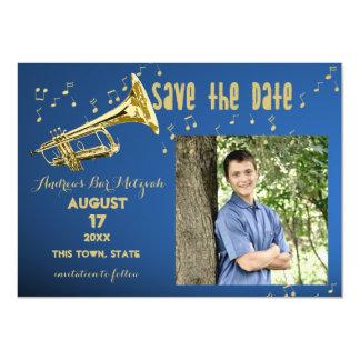 De Bar mitswa van de trompet bewaart de Datum 11,4x15,9 Uitnodiging Kaart
