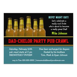 De Bar van de Partij van papa-Chelor kruipt de 13,9x19,1 Uitnodiging Kaart