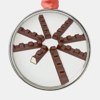 De bars van de melkchocola zilverkleurig rond ornament