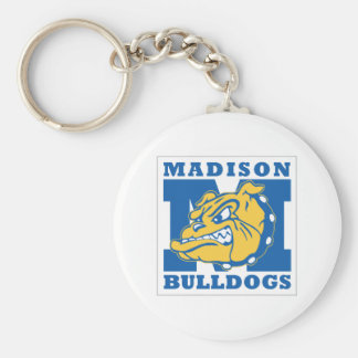 De basis Buldoggen Keychain van Madison Basic Ronde Button Sleutelhanger
