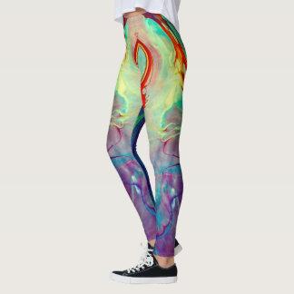 de beenkappen van water marmeren swirly paarse leggings