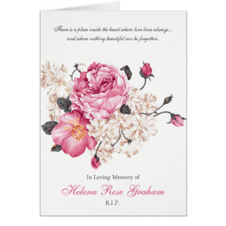 De begrafenis dankt u kaardt Vintage Rozen Kaart