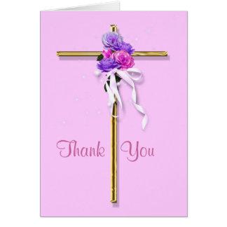 """De begrafenis """"dankt u"""" roze bloemen godsdienstig kaart"""
