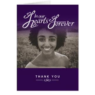 De begrafenis in onze paarse harten dankt u briefkaarten 0