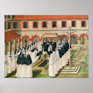 De begrafenis van een Non, van 'l'Abbaye DE Poster