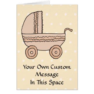 De beige Kinderwagen van het Baby. Op spotty Briefkaarten 0