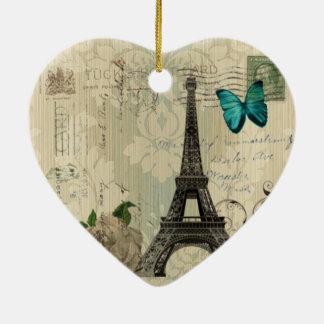 de beige vlinder van het Damast nam de Toren van Keramisch Hart Ornament