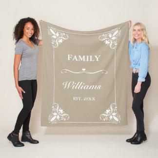 De beige & Witte Decoratieve Familienaam van de Fleece Deken