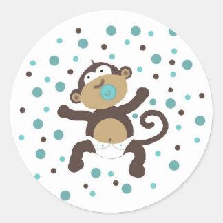 De Bellen van de Jongen van de Aap van het baby Ronde Sticker