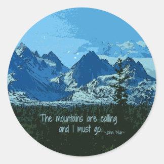 De berg bereikt digitale kunst een hoogtepunt - ronde sticker