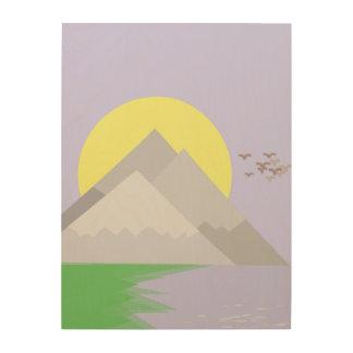 De bergen en het meer, met bomen hout afdruk
