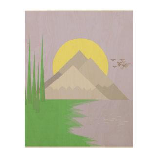 De bergen en het meer, met bomen, zondruk hout afdruk