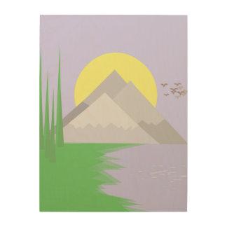 De bergen en het meer, met bomendruk hout afdruk