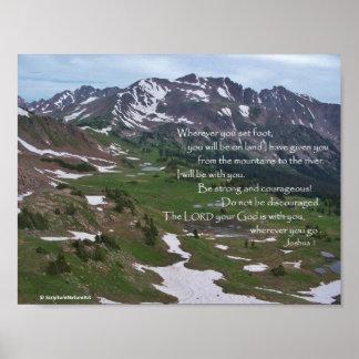 De Bergen van Colorado, God is met u, Joshua 1, Poster