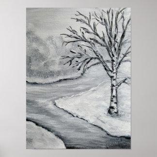 De berk van de winter in zwart-wit poster