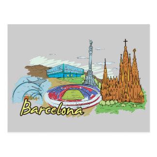 De Beroemde Stad van Barcelona, Spanje Briefkaart
