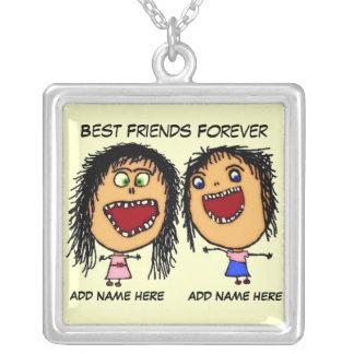 De beste Cartoon van Vrienden voor altijd Zilver Vergulden Ketting
