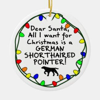 De beste Duitse Kortharige Wijzer van de Kerstman Rond Keramisch Ornament