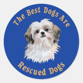 De beste Honden zijn Geredde Shih Tzu) Ronde Sticker