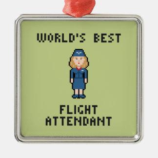 De Beste Steward van de wereld Zilverkleurig Vierkant Ornament