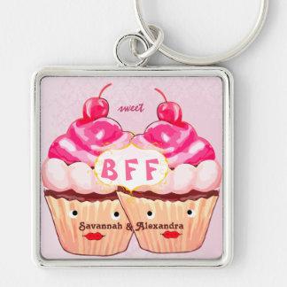 De Beste Vrienden voor altijd Cupcake Keychain van Zilverkleurige Vierkante Sleutelhanger