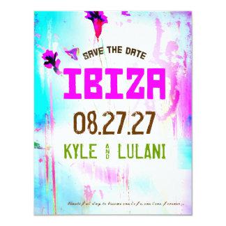 De Bestemming IBIZA bewaart de Datum 10,8x13,9 Uitnodiging Kaart