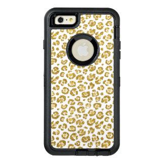 De betoverende Gouden Luipaard van Faux Sparkly OtterBox Defender iPhone Hoesje