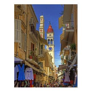 De bezige Steeg van Korfu Briefkaart