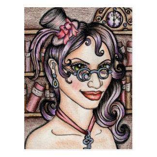 De Bibliothecaris van Steamface van Steampunk Briefkaart