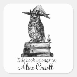 De bibliotheekuil van de hekserij vierkant stickers