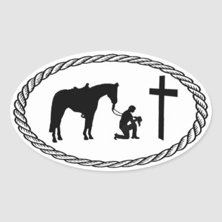 De biddende Dwars Euro Stijl van de Cowboy Ovale Sticker