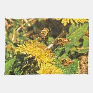 De Bijen die van de honing rond Paardebloemen Keuken Handdoeken