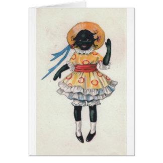 De Black African American Doll Vintage Foto van Kaart